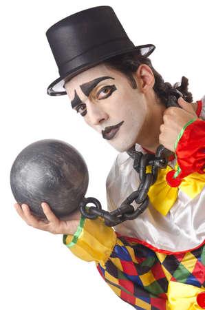 Sad clown on the white Stock Photo - 14907977