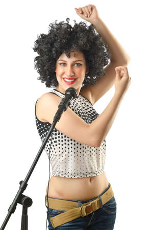 Woman with afro haircut on white Stock Photo - 14725769