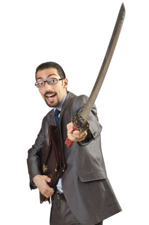 Businessman with sword on white photo