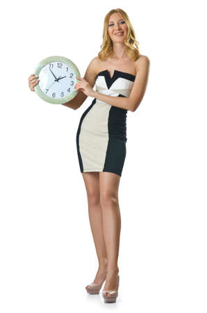 Woman with clock on white photo
