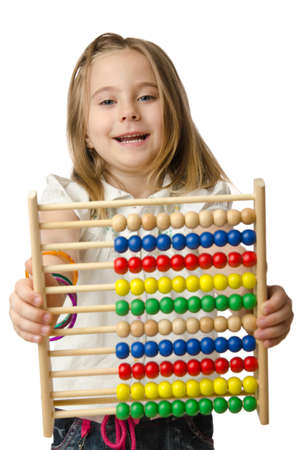 Girl with abacus on white Stock Photo - 14725286