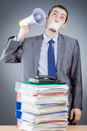 Businessman shouting via loudspeaker Stock Photo - 14908161