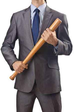 homerun: Angry businessman with bat on white