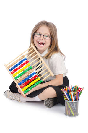 Girl with abacus on white Stock Photo - 14725512