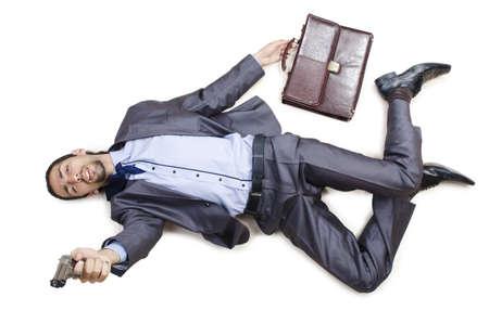 fainted: Dead businessman on the floor