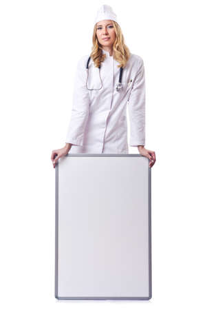 Woman doctor with blank board Stock Photo - 14725915