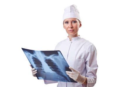 Woman doctor examining x-ray on white Stock Photo - 14725506
