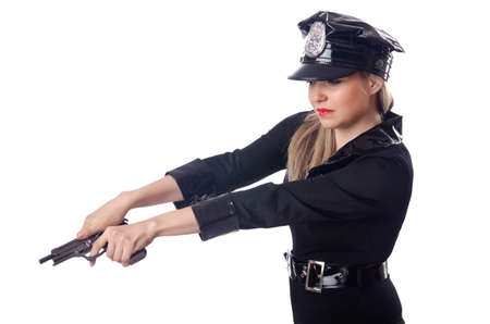 Woman police isolated on white Stock Photo - 14725348