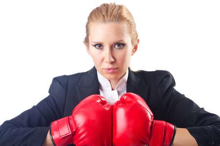 Woman boxer isolated on white Stock Photo - 14725773