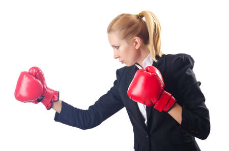 Woman boxer isolated on white Stock Photo - 14725921