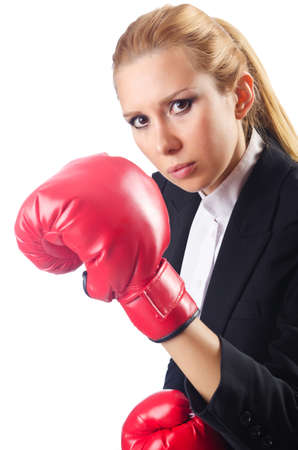 Woman boxer isolated on white Stock Photo - 14725781