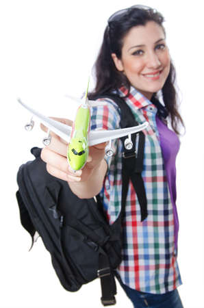 Girl preparing to travel for vacation photo