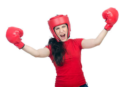 Woman boxer on white background Stock Photo - 14725918