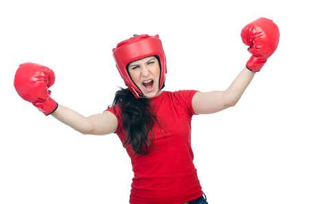 Woman boxer on white background Stock Photo - 14725918