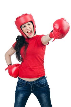 Woman boxer on white background Stock Photo - 14725777