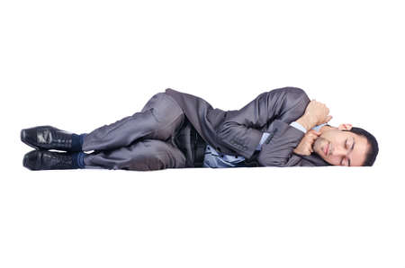 body work: Businessman isolated on the white background