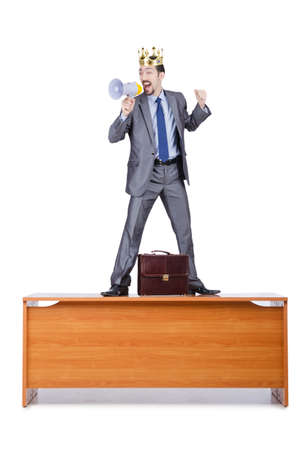 Man on the desk shouting loudspeaker photo
