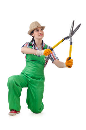 Girl with garden scissors on white photo