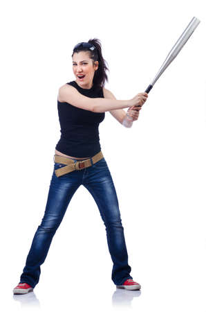 Woman criminal with bat on white Stock Photo - 14725178