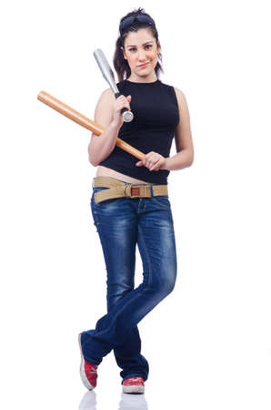 Woman criminal with bat on white Stock Photo - 14725189