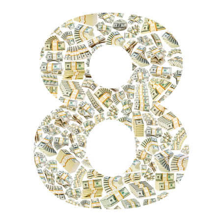 Numbers made from dollar  stacks photo