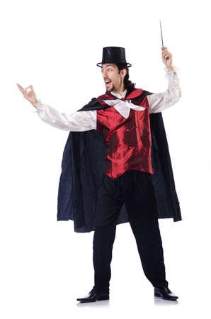 Magician geïsoleerd op de witte achtergrond