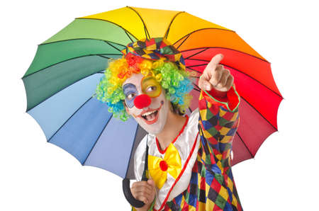 Funny clown on the white Stock Photo - 14814701