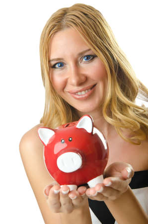 Woman with piggybank on white Stock Photo - 14771523