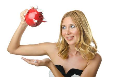 Woman with piggybank on white Stock Photo - 14806140