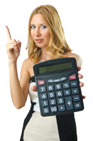 Woman accountant with calculator on white photo