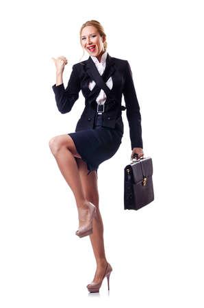 case: Mujer de negocios aislados en el blanco Foto de archivo