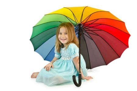 Little girl with umbrella photo
