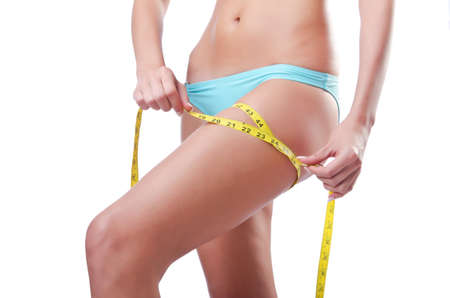 Young lady with centimetr in weight loss concept Stock Photo - 14794042