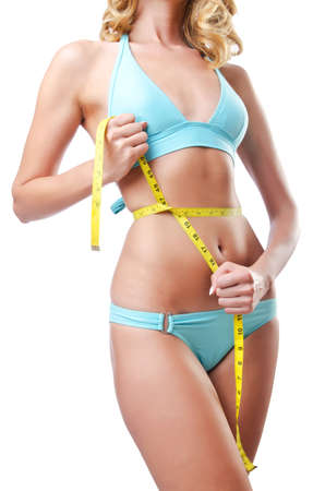 Young lady with centimetr in weight loss concept Stock Photo - 14814351