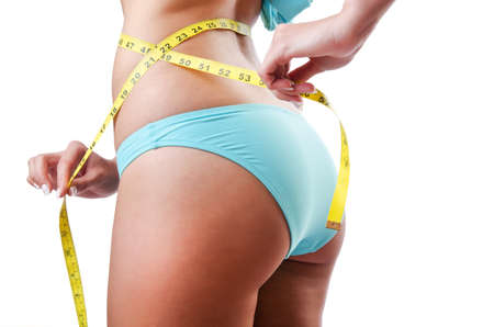 Young lady with centimetr in weight loss concept photo