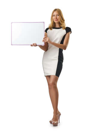 Young woman with blank board photo
