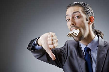deny: Anti smoking concept with man