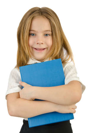 Little girl with books on white Stock Photo - 14814714