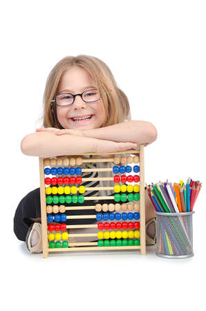 Girl with abacus on white photo