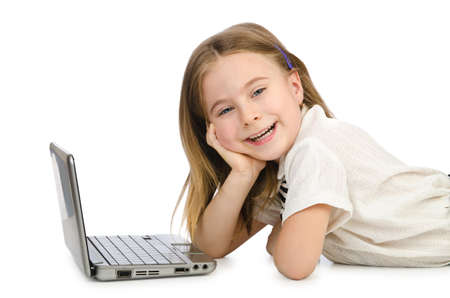 netbook: Cute girl with laptop on white