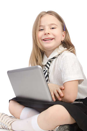 Cute girl with laptop on white Stock Photo - 14793111