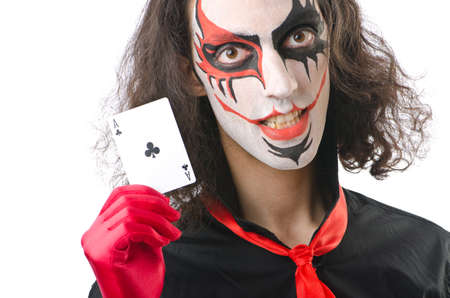 Joker with cards isolated on white Stock Photo - 14770109