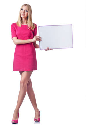 Girl with blank board on white photo
