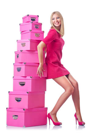 Woman with stack of giftboxes Stock Photo - 14804284