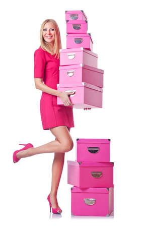 Woman with stack of giftboxes Stock Photo - 14772371