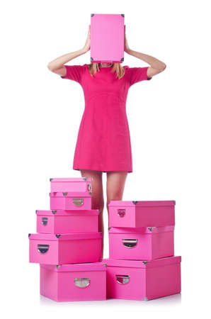Woman with stack of giftboxes Stock Photo - 14772493