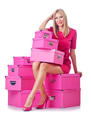 Woman with stack of giftboxes photo