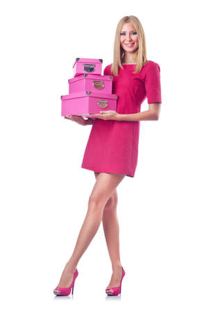 Woman with stack of giftboxes Stock Photo - 14772926