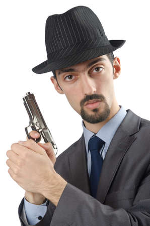 Man with gun isolated on white photo