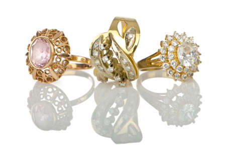 Jewellery ring isolated on white photo